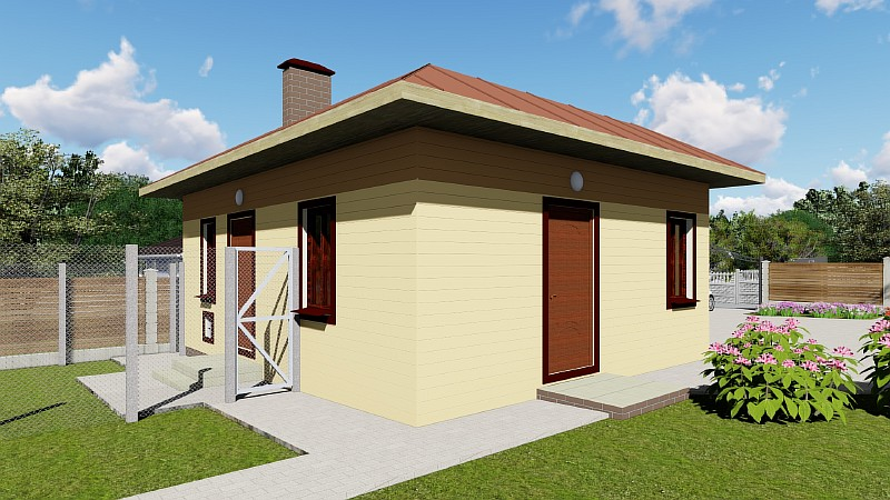 Проект гаража под 1 авто с хозблоком, летней кухней и подвалом - визуализация