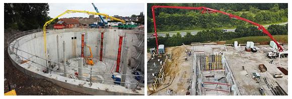 Бетоновод-стрела бетононаоса в рабочем положении