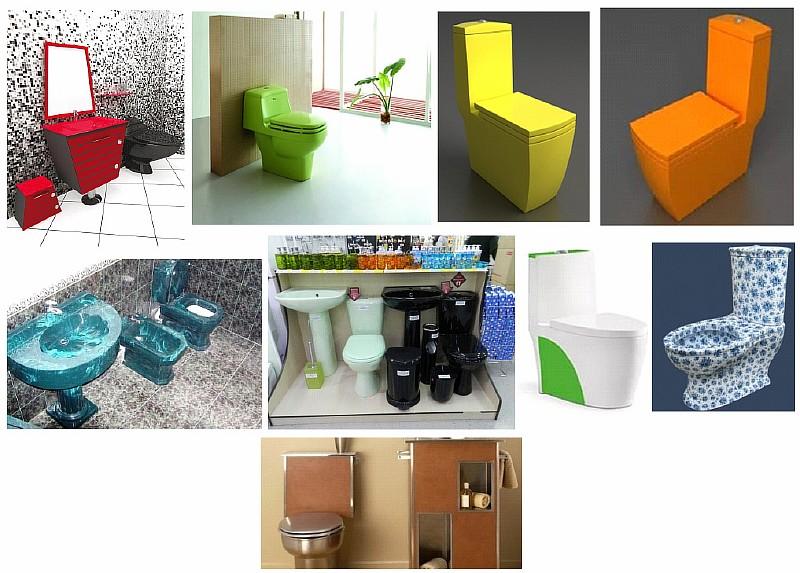 Унитазы разных цветов и дизайна