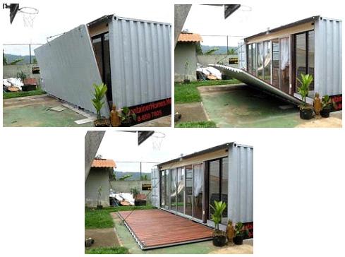 Дачный домик из контейнера с откидной стенкой