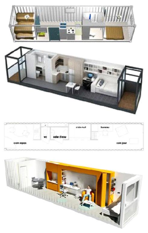 Пример планировки в доме из одного морского контейнера