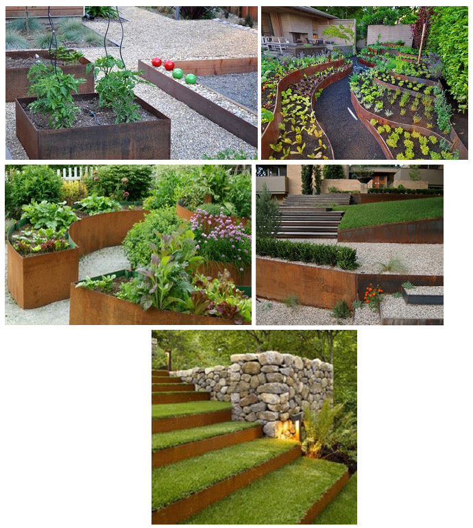 Использование кортен-стали для оформления клумб и ступенек в саду