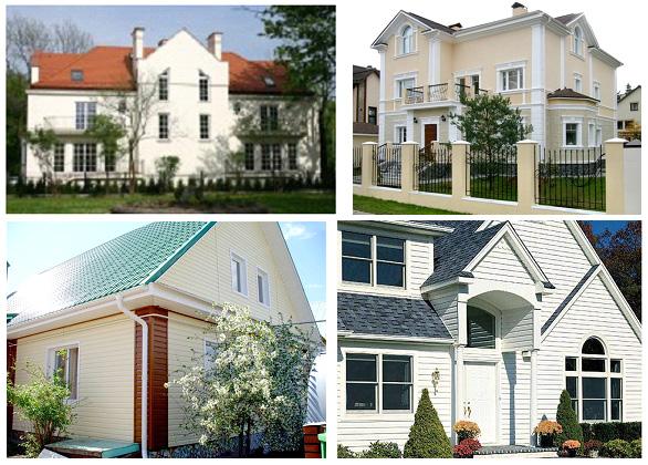 Фасад дома белого или кремового цвета