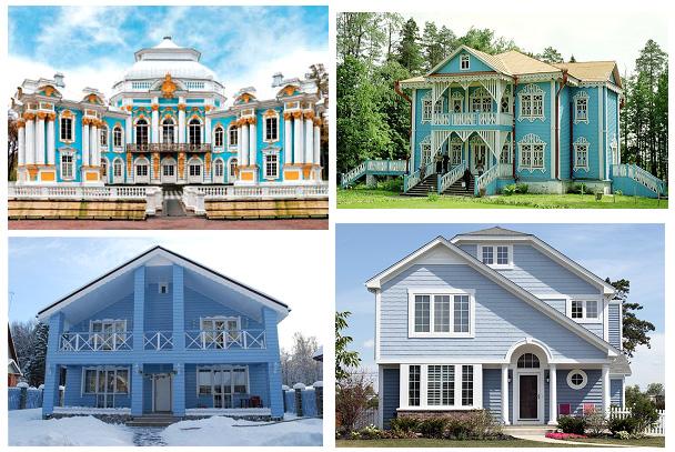 Фасад голубого и синего цвета