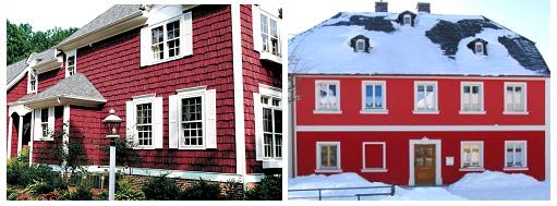 Фасад красного цвета и его оттенков