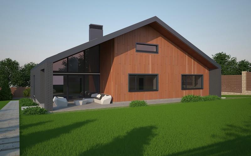 Одноэтажный дом с четырьмя комнатами и с гаражом на два автомобиля
