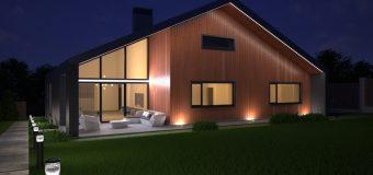 Типовой проект «Long slope» (длинный склон) — современный и комфортабельный одноэтажный дом с четырьмя комнатами и с гаражом на два автомобиля