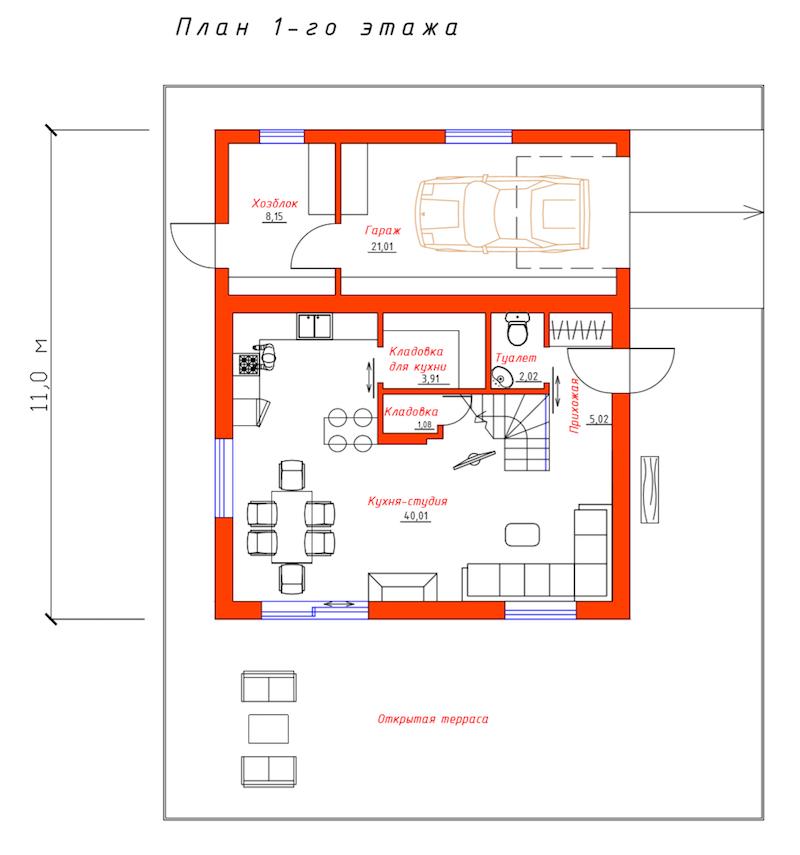 """План 1-ого этажа проекта дома """"Эконом"""""""