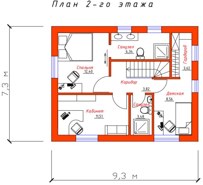 """План 2-ого этажа проекта дома """"Эконом"""""""